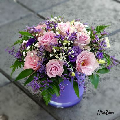 Picture of Beautiful Fuchsia rose and other flowers arrangement in glass vase (included). ONLY BEIGE VASE