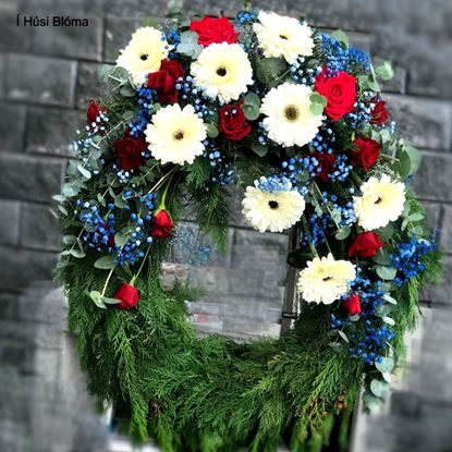 Picture of Beautiful Memorial sympathy Wreath with one long flower arrangement in colors of Icelandic flag.