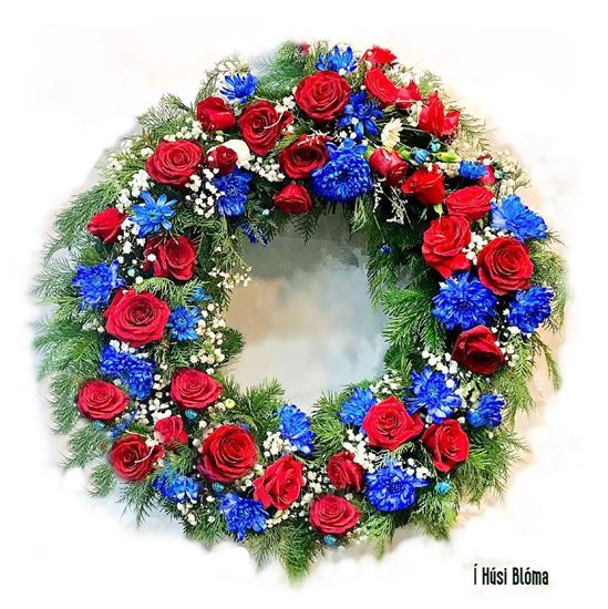 Picture of Fully decorated funeral wreath with flowers in colours of national Icelandic flag-3 sizes.