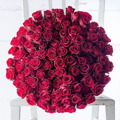 Picture of A breathtaking  bouquet with 100 pcs. of premium red roses handtied- 60-70cm long stemmed.