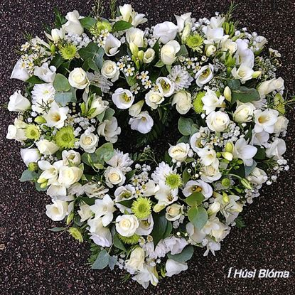 Picture of Beautifuly decorated open Funeral oasis heart with white mixed flowers-and greenery-2 sizes.