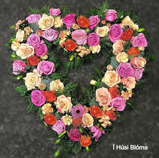 Picture of Bright and Stunning Open Funeral heart with orange and pink roses, carnations and more- 2 sizes.