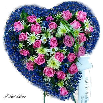 Picture of Fully decorated Funeral heart tribute with pink roses, white-green moms, blue baby's breath-2 sizes.