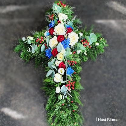 Picture of Beautifuly decorated Funeral Cross with white, red, blue flowers, berries and more-70cm.