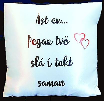 Picture of Decorative  satin throw Pillow- Love is when are 2 hearts beating as one…2 languages.
