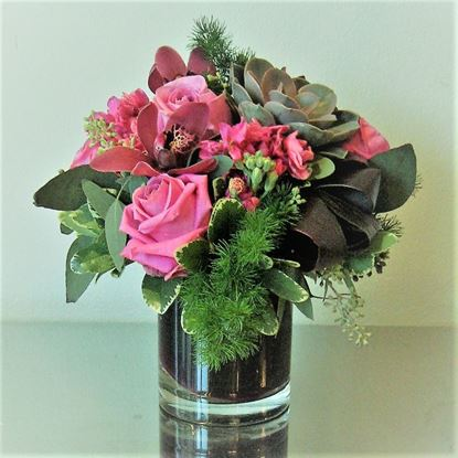 Picture of A breathtaking  mixed flower arrangement in vase- 2 colours available-roses, orchids and more...