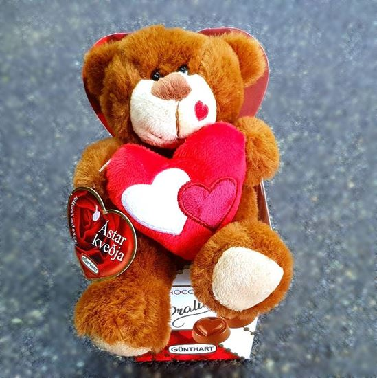 Picture of A Belgian chocolate box with cute teddy bear holding heart.