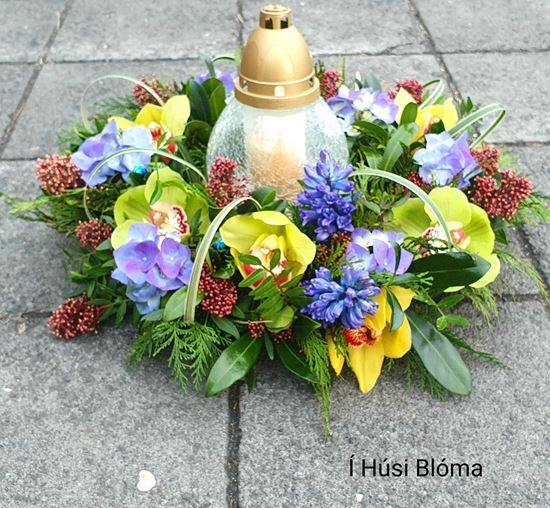 Picture of Fully decorated  sympathy funeral Wreath with yellow orchid, blue hyacinth, other flowers and greenery-38cm..