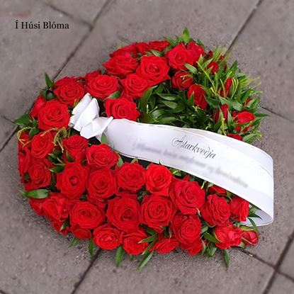 Picture of Beautiful open Funeral heart with icelandic red roses, and greenery-2 sizes.